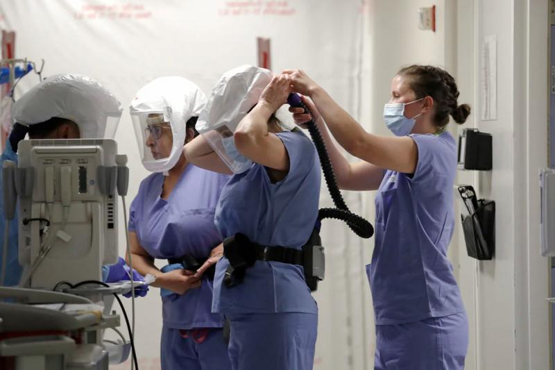 動力送風呼吸防護具能完全罩住醫護人員頭部(AP)