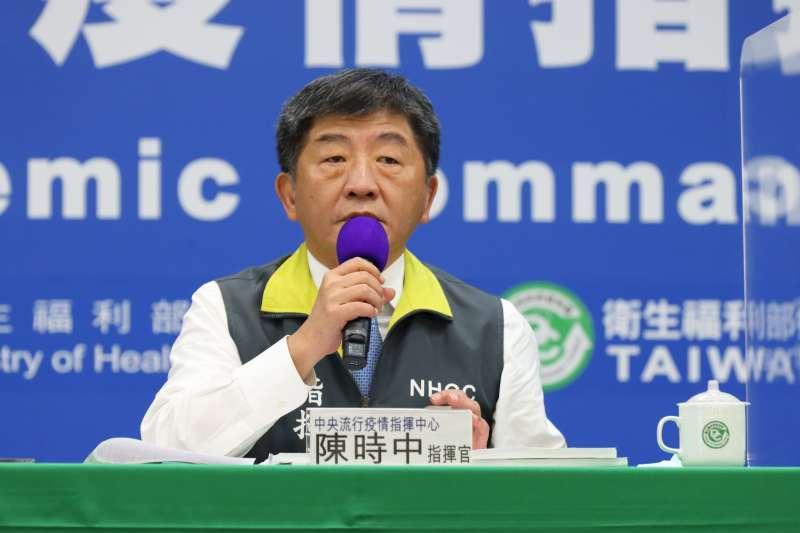 中央流行疫情指揮中心指揮官陳時中(見圖)宣布,台灣21日新增1例新冠肺炎確診病例。(資料照,中央流行疫情指揮中心提供)