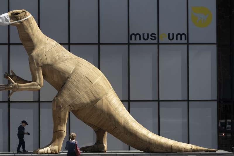 5月19日,比利時布魯塞爾自然史博物館,恐龍雕塑也戴上口罩(美聯社)