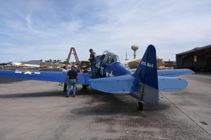 SNJ為海軍版的T-6德州佬(Texan)教練機,也曾為中華民國空軍使用過,在紀念空軍亞利桑那博物館看到的這架還保持在可飛行狀態中。(許劍虹提供)