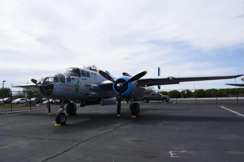 B-25米契爾轟炸機,與P-51一樣由北美公司所研發,為盟軍陣營常見的戰術轟炸機,也曾為中華民國空軍的第1大隊和第2大隊所裝備。(許劍虹提供)
