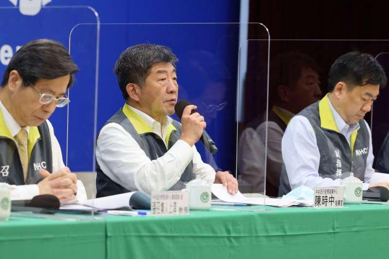 央流行疫情指揮中心指揮官陳時中(中)宣布,國內今(22)日未新增確診病例。(資料照,指揮中心提供)