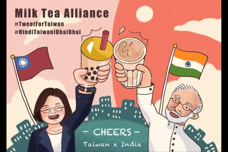 台灣數位外交協會推文「台印乾杯」圖文,引起廣大印度網友注意(翻攝推特)
