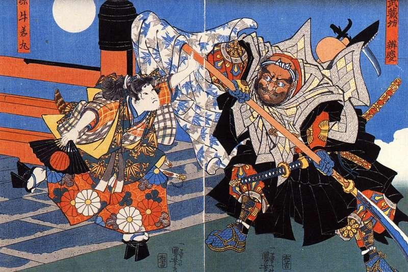 浮世繪畫師歌川國芳筆下的源義經與弁慶。(取自維基百科)