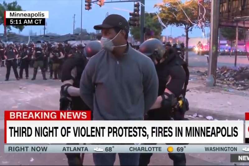 2020年5月29日,CNN黑人記者希梅尼茲(Omar Jimenez)在報導反種族歧視示威時,竟遭警方莫名其妙逮捕(YouTube)