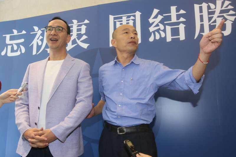 作者認為,在高雄市長韓國瑜(右)遭到罷免後,前新北市長朱立倫(左)將成為國民黨的新共主。(資料照,柯承惠攝)