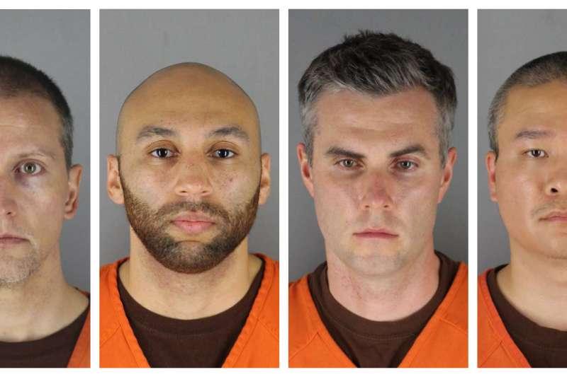 非裔美國人佛洛伊德之死引發全球反種族歧視抗議潮,主嫌喬文(Derek Chauvin,左一)謀殺指控罪名升級,另外3名在現場的警官也被指控協助謀殺。(AP)