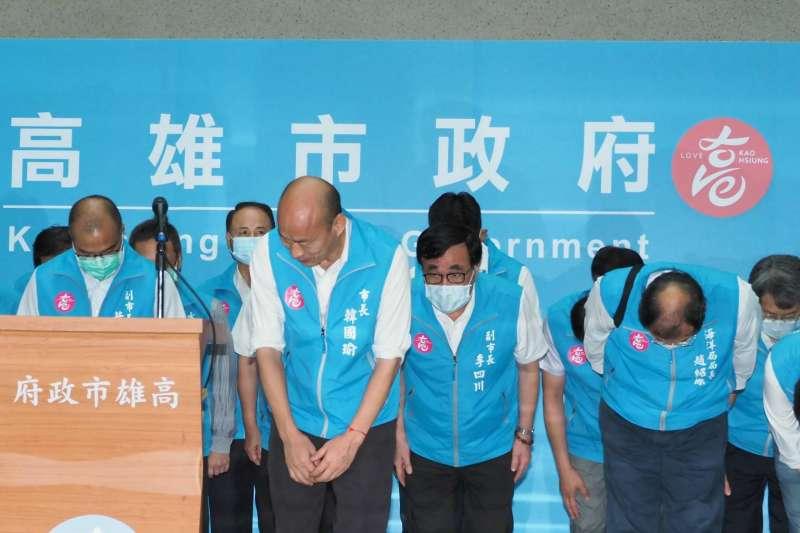 高雄市長韓國瑜直言,他相信「下一任的高雄市長會更認真、更努力」、「我相信,人民會是最後的贏家」。(林瑞慶攝)