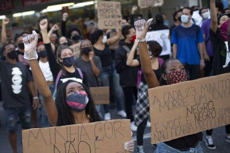 2020年6月,巴西也掀起反種族歧視抗議。(AP)