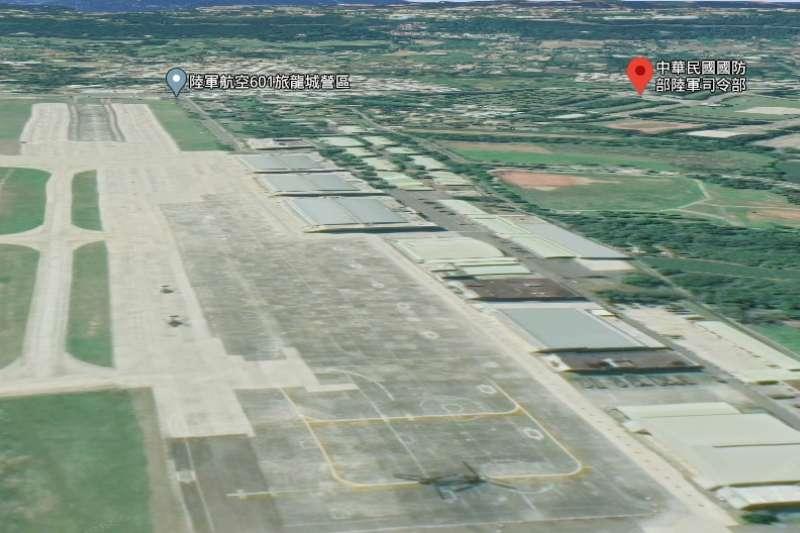 20200608-,第一張是有3D功能的陸軍33化學兵群營區。(取自Google Maps)