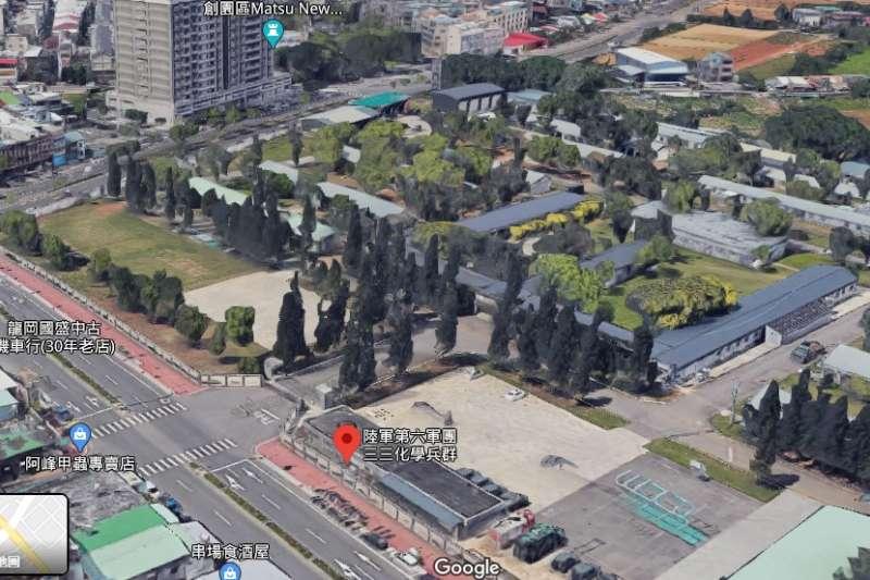 Google Maps去(2019)強化3D影像,使得不少軍事營區立體化浮現。圖為陸軍33化學兵群營區。(取自Google Maps)