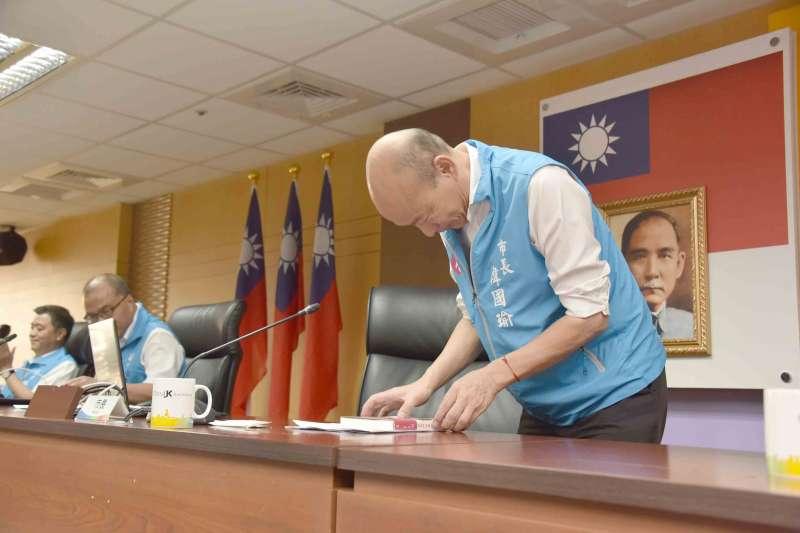 高雄市長韓國瑜(見圖)在臉書號召高雄市民朋友,一同到鳳山行政中心跟他告別。(資料照,高雄市政府提供)