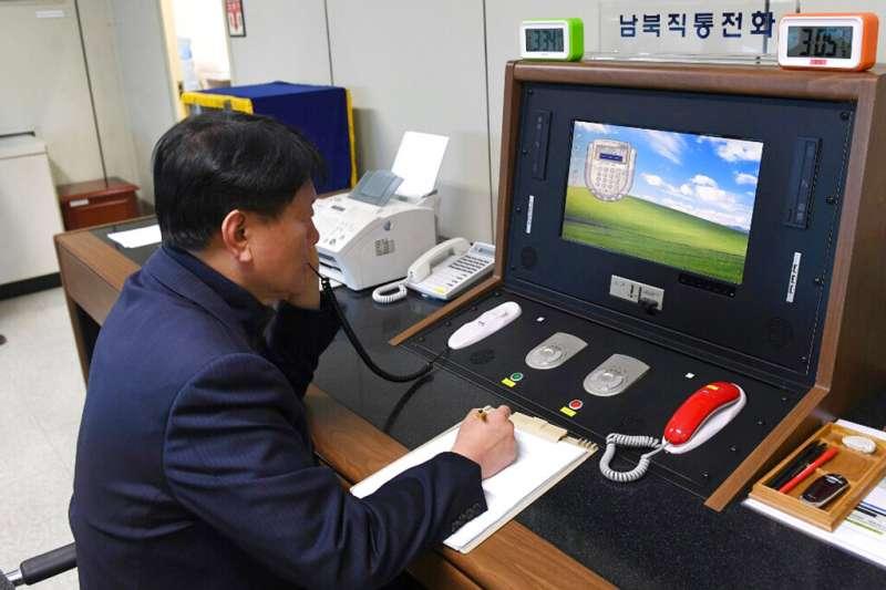 由於北韓切斷了與南韓的聯繫管道,南韓政府目前已經無法透過設置在板門店的熱線電話聯繫上北韓。 (美聯社資料照)