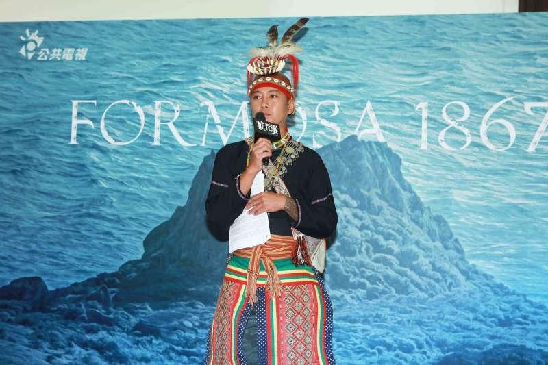 20200611-斯卡羅潘文杰直系後裔、更名初審評審潘佳昌Masaw Garuljigulj出席《斯卡羅》定名記者會。(公視提供)