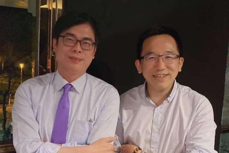 行政院副院長陳其邁,10日晚間也回到高雄,與民進黨市議員聚會,討論市政。(取自陳致中臉書)