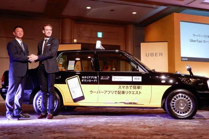 美國Uber在名古屋推出的計程車叫車服務用車。(圖/作者提供)