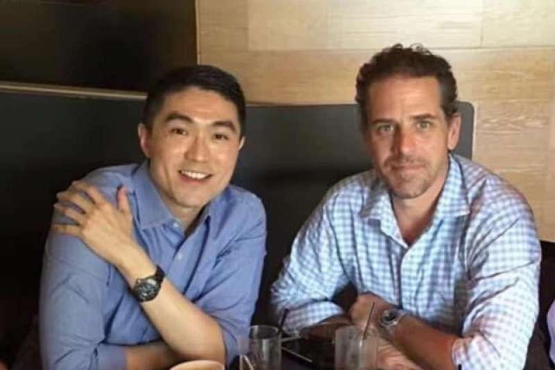 前國民黨立委謝國樑(左)與美國民主黨總統候選人拜登(Joe Biden)的次子杭特(Hunter Biden)(右)是多年好友。(謝國樑提供)