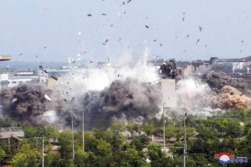 北韓炸毀兩韓聯絡辦公室,施壓最終對象可能是華府。(美聯社)