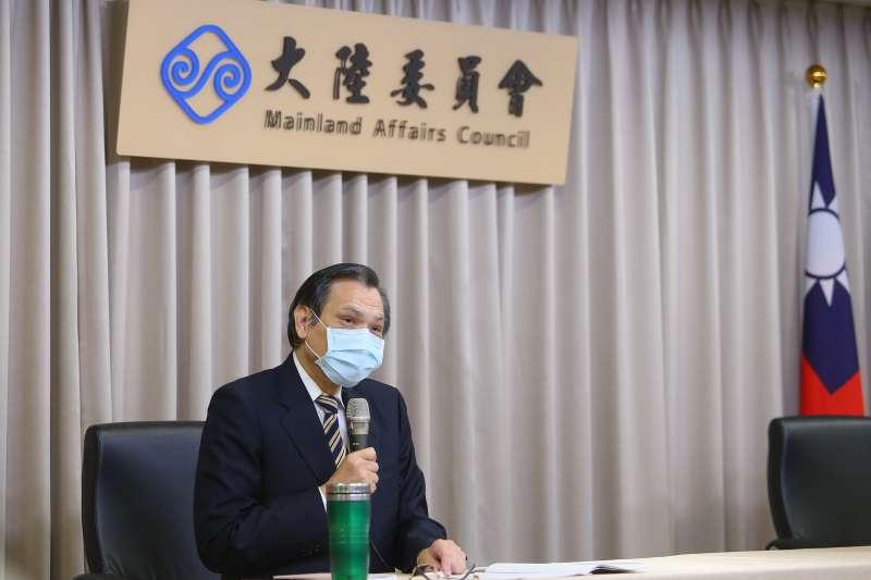 20200618-陸委會主委陳明通18日召開記者會說明「香港人道援助關懷行動專案」。(顏麟宇攝)