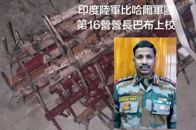 在6月15日中印衝突中喪命的比哈爾軍團第16營營長巴布。大圖是印度指控解放軍使用的攻擊武器。