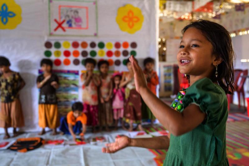 5歲的珍娜圖與母親一起住在孟加拉羅興亞難民營,營內還有約45萬名兒童。(臺灣世界展望會)