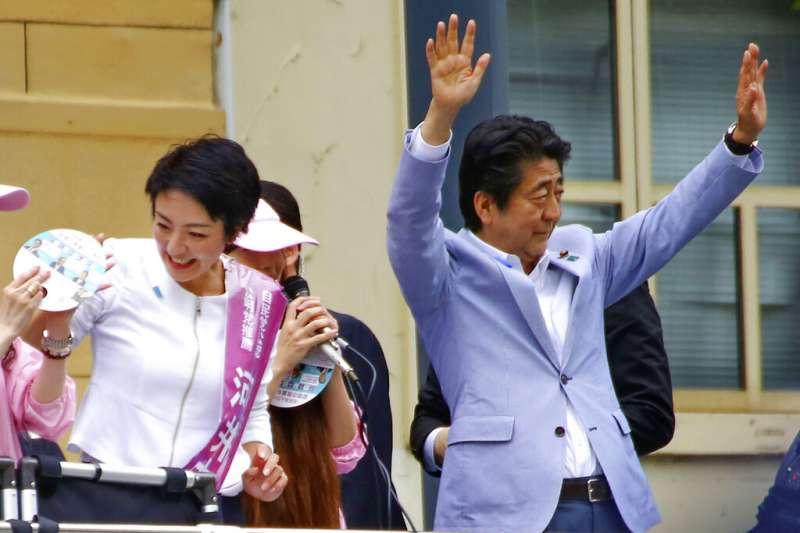 去年參選日本參議員的河井案里,首相安倍晉三也到廣島為她助陣。(美聯社)