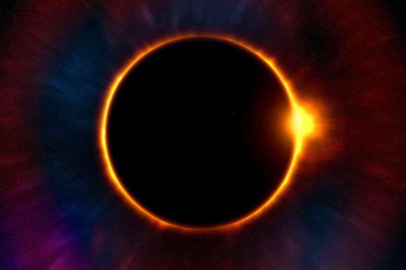 日環食示意圖,錯過6月21日要再等195年!(圖/取自Pixabay)