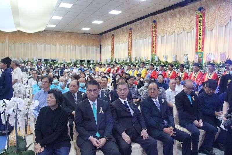 中華道教總會理事長張檉長老日前仙逝,22日上午於台北舉行公祭,藍綠黨政要員齊聚,場面備極哀榮。(圖/中華道教總會提供)