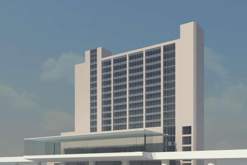 新北環狀線板橋站外觀模擬透視圖。(圖/新北市捷運局提供)