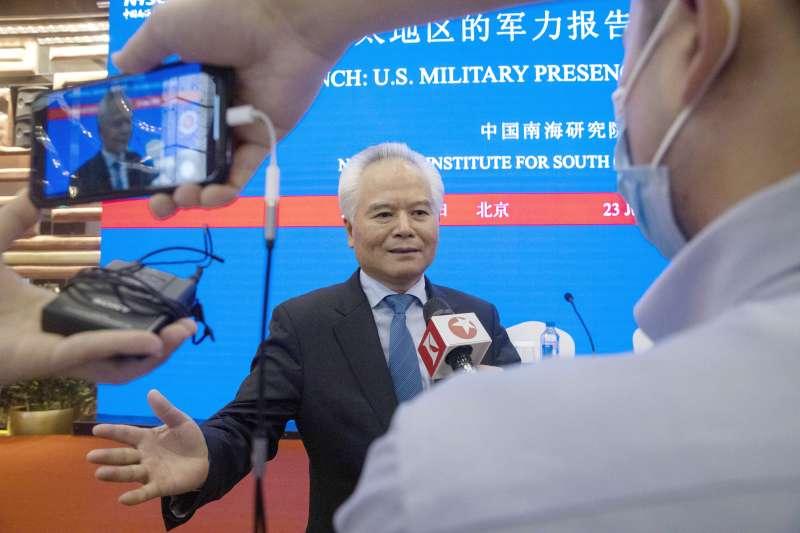 中國發布《2020美國在亞太地區的軍力報告》,圖為中國南海研究院院長吳士存(AP)