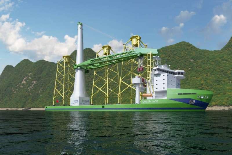 """監察院曾為離岸風電招標提出糾正案,圖為台船新一代離岸風電大型浮吊船""""Green Jade""""。(圖/台船)"""