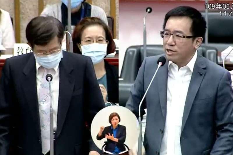 民進黨高雄市議員陳致中(右)30日質詢時,要求代理市長楊明州(左)應盡速處理前朝人事。(取自高雄市議會YouTube)