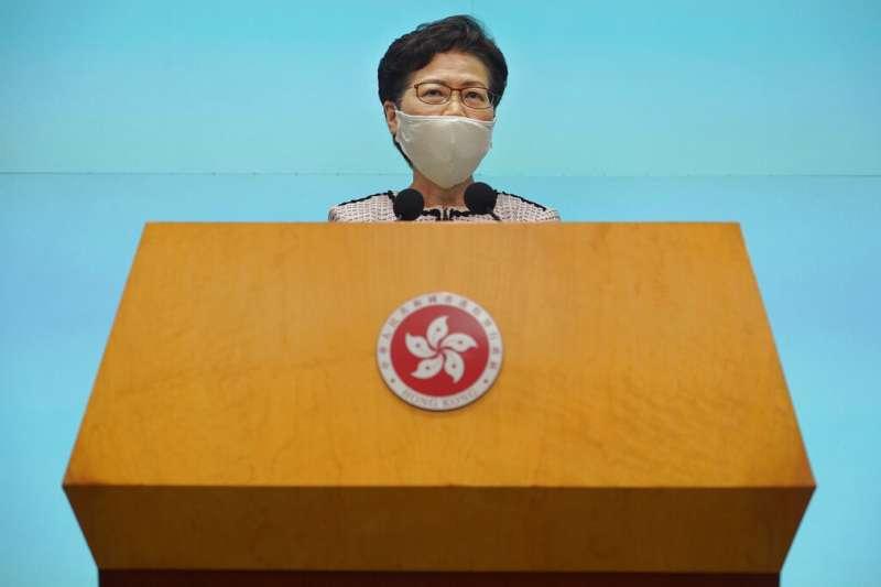 香港特首林鄭月娥(見圖)日前表示,民主派初選企圖號召達到立法會席次過半以癱瘓施政,恐違反《港版國安法》。(資料照,美聯社)