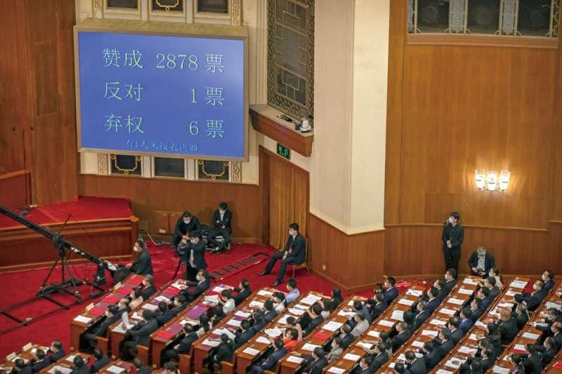 中國全國人大5月28日表決通過香港國安法的決定草案。(美聯社)