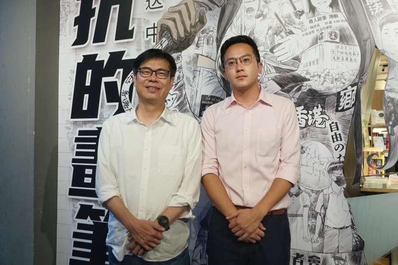 20200701-高雄市長參選人陳其邁、競選團隊發言人廖泰翔1日參訪台灣漫畫基地。(盧逸峰攝)