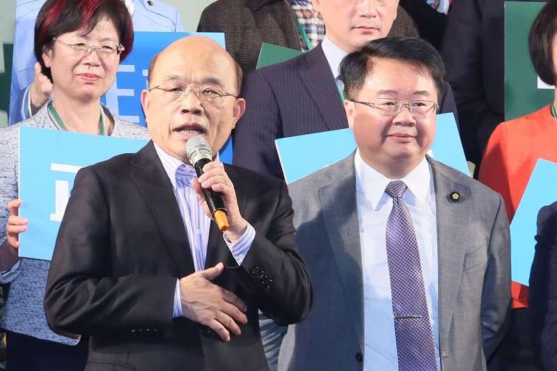 蘇貞昌(左)若想確保中常委人選吳秉叡(右)當選,蘇系勢必需要其他派系奧援。(柯承惠攝)