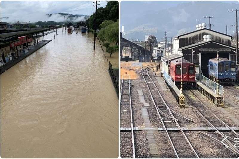 日本熊本縣受豪雨重創,截至日本時間今天上午11時止,至少已知24人不幸罹難。(圖/twitter@kumatetusyain1)