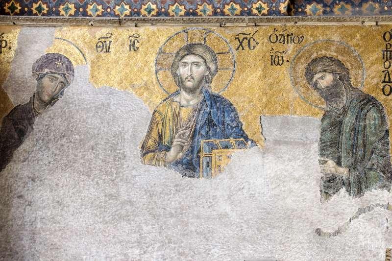 土耳其聖索菲亞教堂博物館的三聖像馬賽克壁畫。(維基百科公有領域)