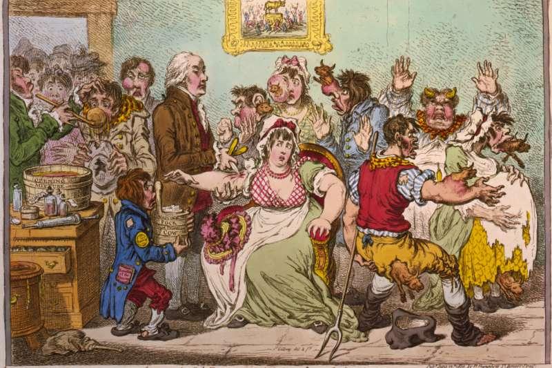 1802年的一幅評論式漫畫,內容顯示接種牛痘的人傷口長出了公牛。此旨在批評愛德華·詹納利用疫苗預防天花的做法。(圖/維基百科)