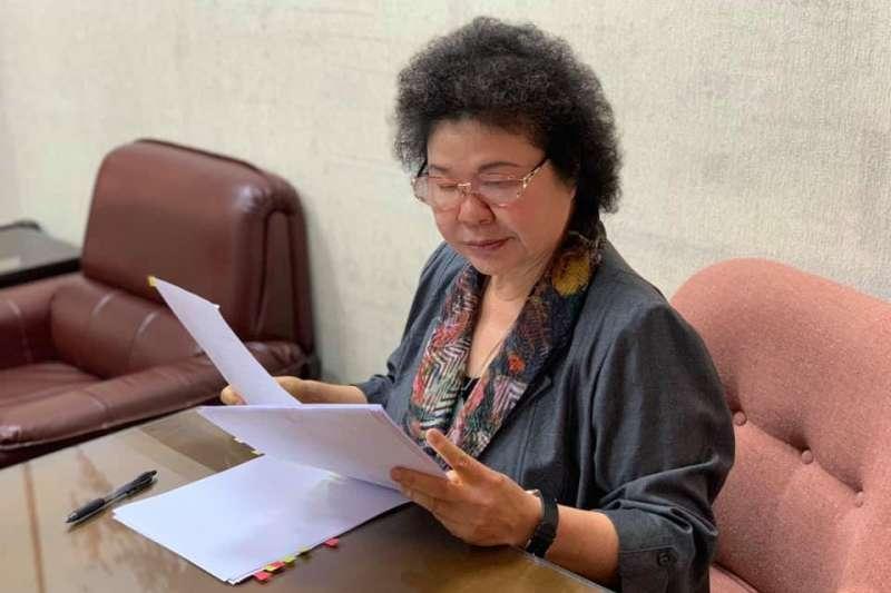監察院長被提名人陳菊進入立法院備審。(取自陳菊臉書)