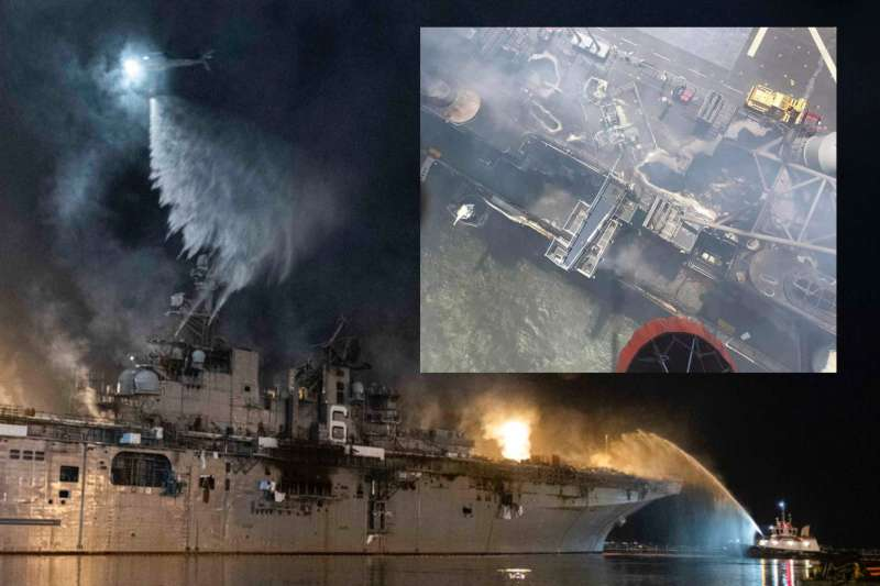 美軍兩棲突擊艦「好人理查號」發生大火,延燒數天仍未能撲滅。(美聯社)