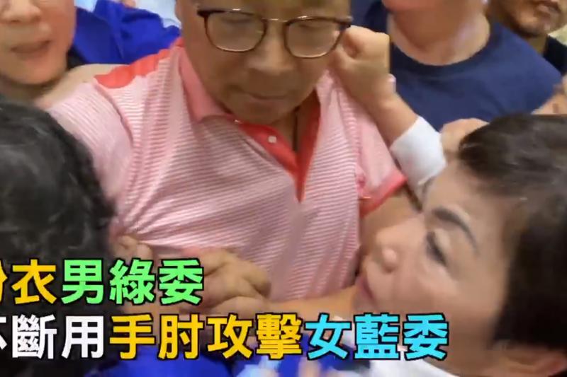 國民黨立委葉毓蘭在臉書貼出影片,指控影片中的「粉衣男綠委」陳歐珀對他襲胸、壓胸,並點名范雲「幫我舉發他」。(取自葉毓蘭臉書)