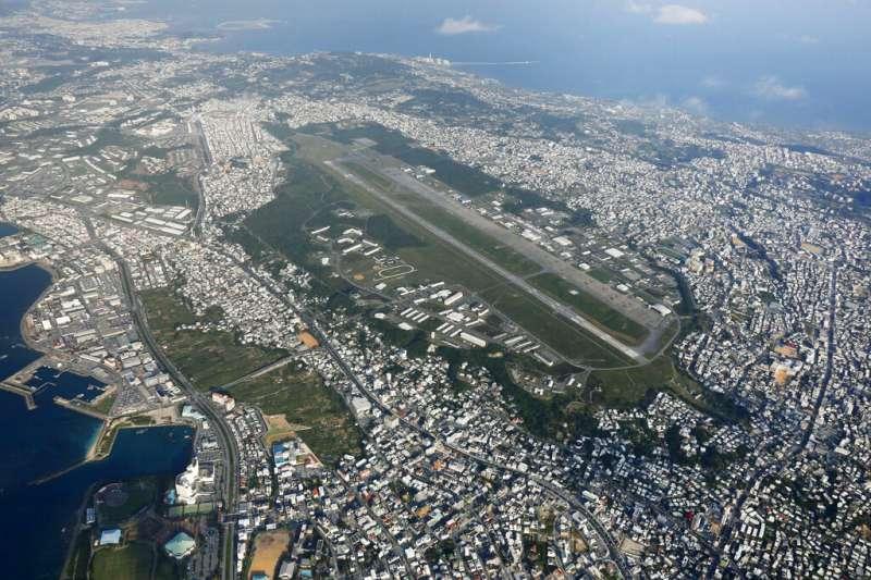 美軍陸戰隊在沖繩的普天間基地。(美聯社)