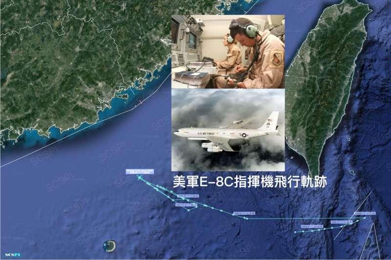 美軍E-8C指揮機7月17日在巴士海峽與台灣海峽的飛行軌跡。