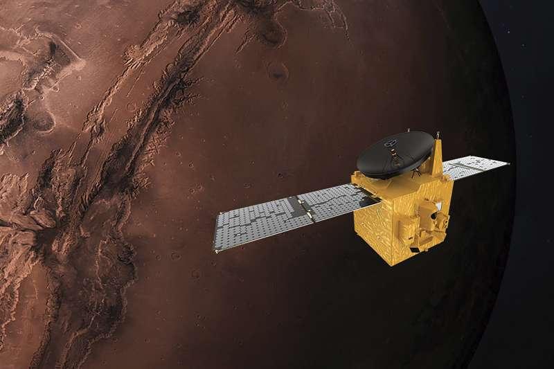 載運阿拉伯聯合大公國「希望號」(Hope)火星探測器。(AP)