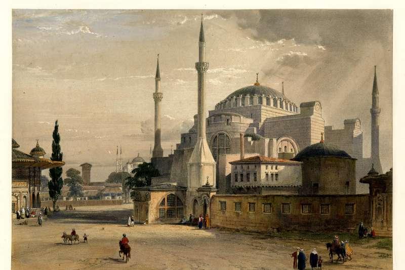 伊斯坦堡「聖索菲亞」(Hagia_Sophia)大教堂/博物館/清真寺,繪於1852年(Wikipedia / Public Domain)
