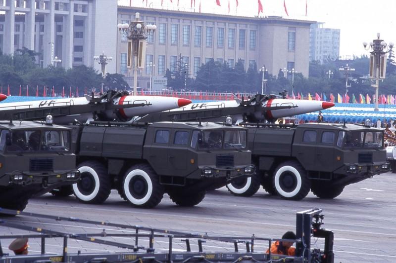 1995、1996年發生的第三次台海危機,解放軍對台灣發射多枚東風-15短程彈道飛彈。(林瑞慶攝)