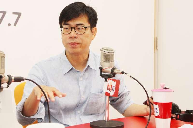 民進黨高雄市長補選候選人陳其邁24日接受廣播節目專訪。(Hit Fm《周玉蔻嗆新聞》製作單位提供)