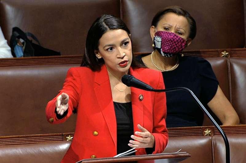 美國民主黨籍的紐約州聯邦眾議員奧卡西歐─寇特茲(美聯社)