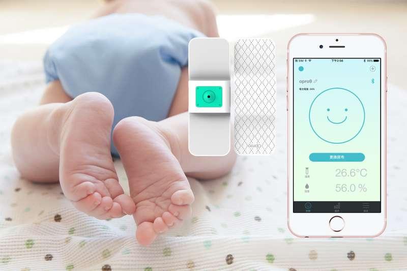 Opro9智慧尿濕感知器可連結手機、平板等行動裝置,不錯失換尿布時機(圖片來源:Opro9)
